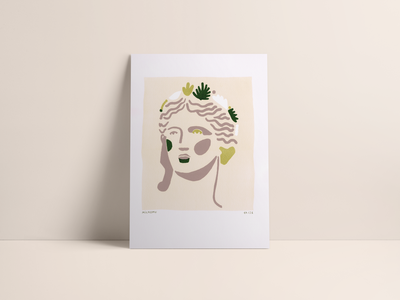 Flora Screenprint portrait print screen print 2018 status 4 colors face women silkscreen screenprint statue graphicdesign illustration