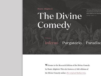The Divine Comedy Research Edition minimalist literature dante alighieri web design ui typography typographic website the divine comedy