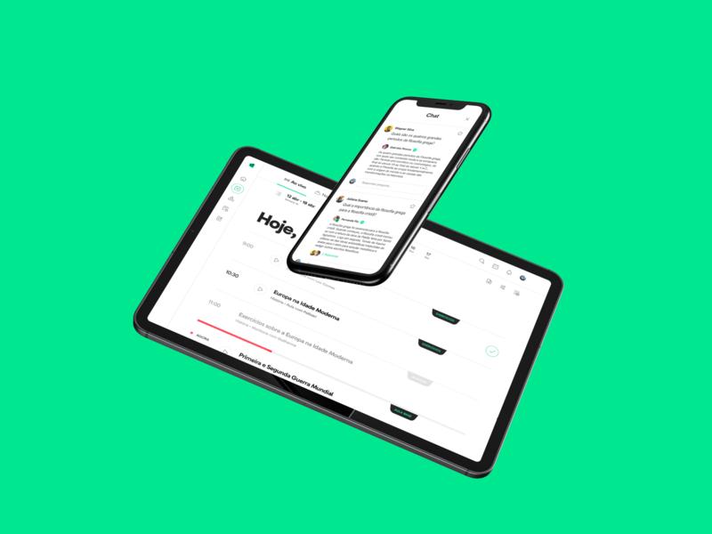 Descomplica ENEM platform — Live class agenda and chat room descomplica brazil ui mobile lms product design