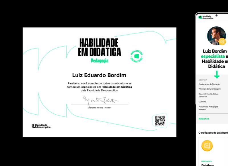 Descomplica College Micro-Certificate diploma graphic design uxdesign faculdade college learning lms descomplica brazil education ui ux