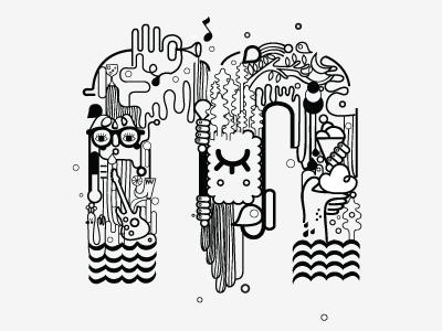 Umami's M illustration typography artwork for music