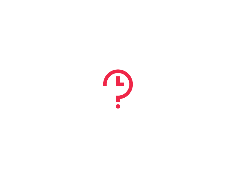 What time is it? logo question mark symbol minimalistic simple doodle time