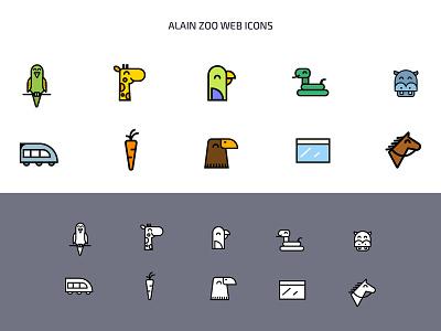 AlAin Zoo web icons vector design background arabic app animals illustration logo icons zoo