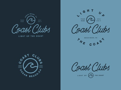 Coast Clubs badge design shirt typography coast ocean wave beach logos