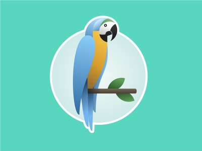 Blue and Yellow Macaw mule sticker america south parrot vector bird brazil macaw