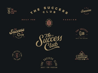 The Success Club script typography lettering design badge concepts logo