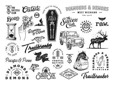 Logos & Illustrations script typography lettering design badge concepts logo