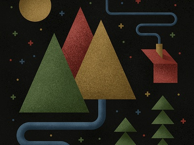 Mountain Illustration river trees cabin geometric illustration mountain texture