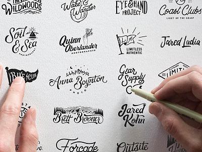 Branding photographer badge lettering typography branding design logo hand lettering