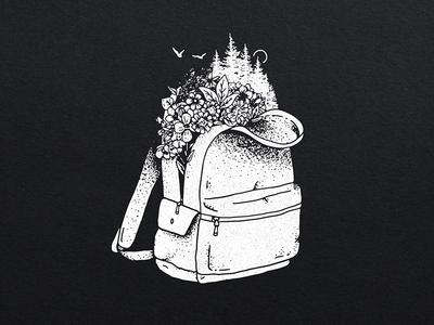 Backpack Illustration explore adventure flowers illustration logo backpack