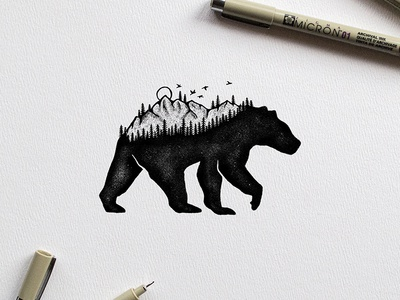 Adventure Bear illustration grizzly birds trees mountains adventure explore bear