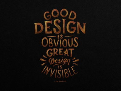 Great Design is Invisible design lettering procreate paint texture hand lettering type typography