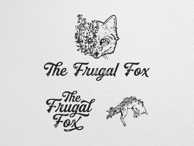 The Frugal Fox design branding design texture fashion flowers fox illustration logo lettering branding