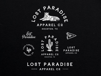 Lost Paradise vector design apparel tiger cactus illustration logo badge typogaphy