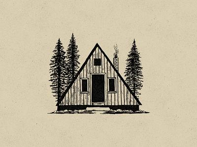 Cabin design hand drawn texture mountains apparel design apparel a frame illustration adventure explore trees outdoors cabin
