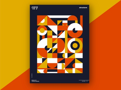 877 Poster - Structure poster art grid design abstract branding pattern illustration geometric color shapes vector poster