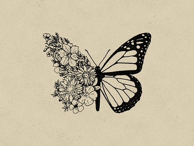Butterfly hand drawn flower illustration flag logo flower logo flowers flower butterfly