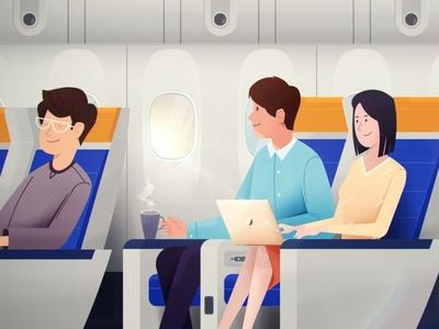 Fly to a dream macbook boy girl laptop sleeping dreaming dream tea aicraft airplane flying sky