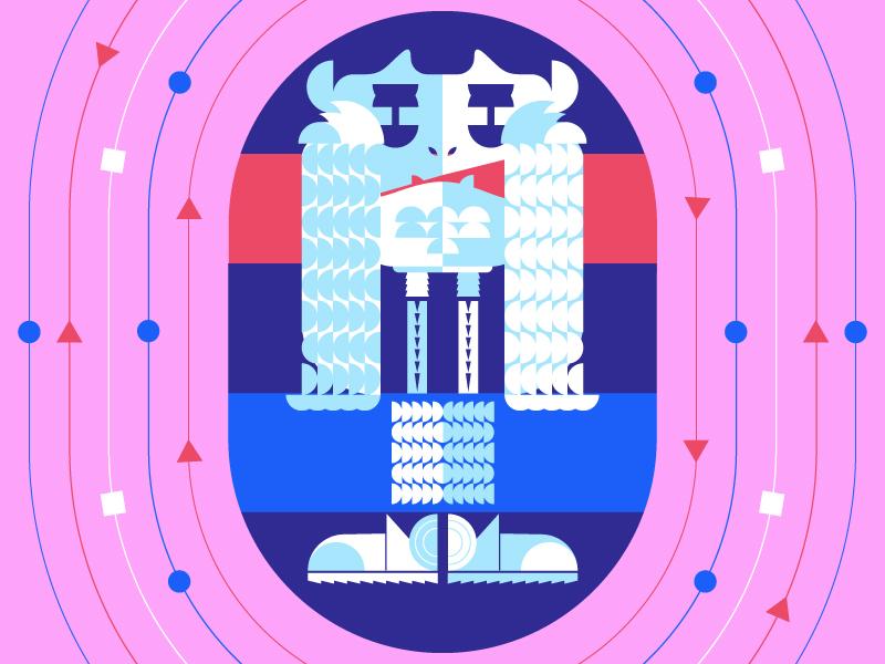 Abominable geometric space form minnesota monster creature yeti winter color shape illustration