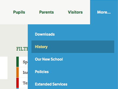 """More"" menu website web interface dropdown ui menu"