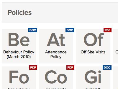 Downloads - Periodic table style school website academy education nav navigation menu downloads