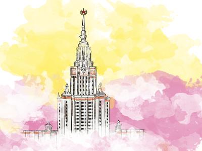 Lomonosov Moscow State University for Circle of Light Festival circle of light lightfest msu moscow univetsity digital art watercolor illustration drawing