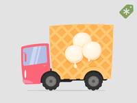 Cartoon Ice Cream Delivery Truck
