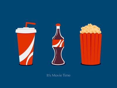 It's Movie Time! coca cola cinema film cup bottle drink cola coke pop corn movie illustration icon