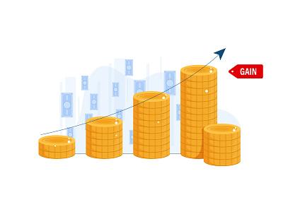 Profit Size Does Matters cash upward arrow growth coin trend money profit gain