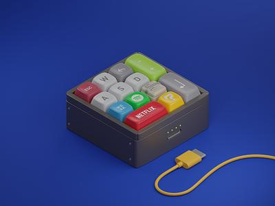 Keycaps for Everyone isometric 3d keycaps spotify keyboard mario netflix blender blender3d