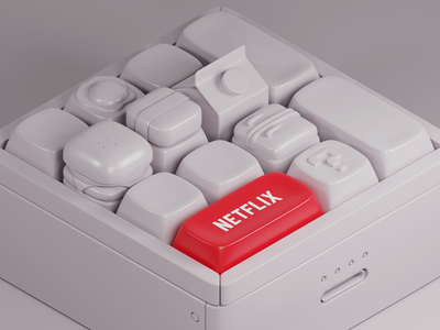 Keycaps for Netflix netflix 3d blender3d blender burger isometric mario keyboard