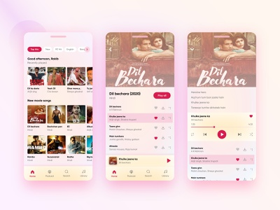 Music & Podcast Application video research wireframe musician new hollywood bollywood movie illustration animation color ipad interaction website user interface ux ui music player podcast music