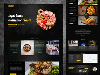 Restaurant & Catering booking landing page design mockup free amazing hotel wireframe responsive mobile user interface interaction design ux ui design dark ecommerce booking catering restaurant food landing page website