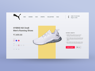 PUMA Product Page white mockup fashion development color ui ui  ux design product catalog product brochure product branding web design product ios website user interface ux mobile android design app