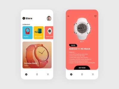 E-Store App Screen interaction design product design ecommerce wrist watch speaker headset watches ipad color ux user interface design ui ios android mobile app uidesign