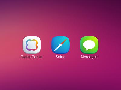 Plain iOS7 Icons Pt. 2 icons iphone game center safari messages plain