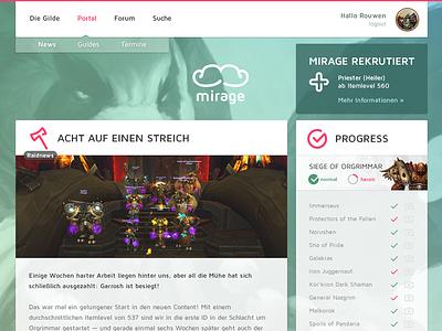 Mirage Website web design gaming community
