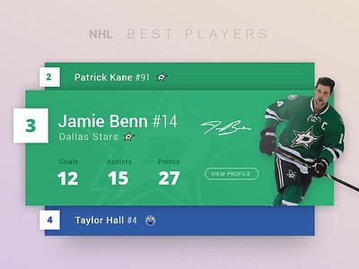HNL players widget 100days hnl score flat sport game hockey app widget tablet mobile ui