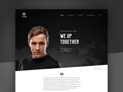 YLLOW - Website person portfolio black simple minimal clean music web branding ux ui design