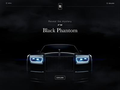Rolls-Royce Black Phantom page home simple ui brand photo minimal dark black car design web