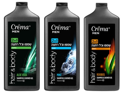 Crema men shower washes mass market packaging packagingdesign