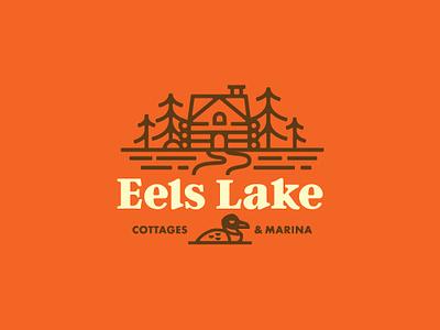Eels lake shirt design lake trees cabin cottage loon logo