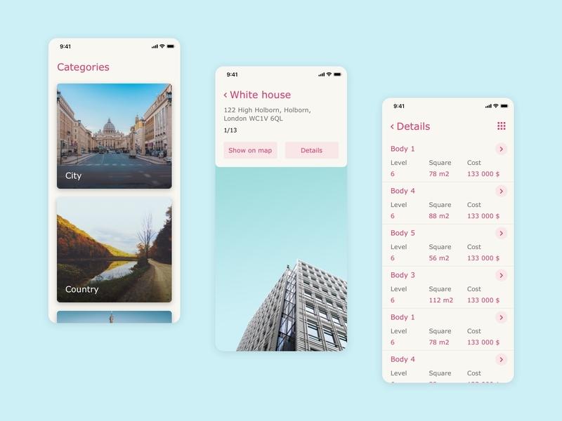 App for realtors city building branding vector list screen app mobile color design ux style interface ui