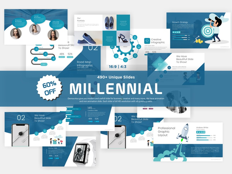 Millennial Presentation Template powerpoint business clean simple elegan powerpoint presentation powerpoint templates modern business agency clean  creative creative black  white infographic business and finance startup keynote template googleslides deck presentation designs presentation layout