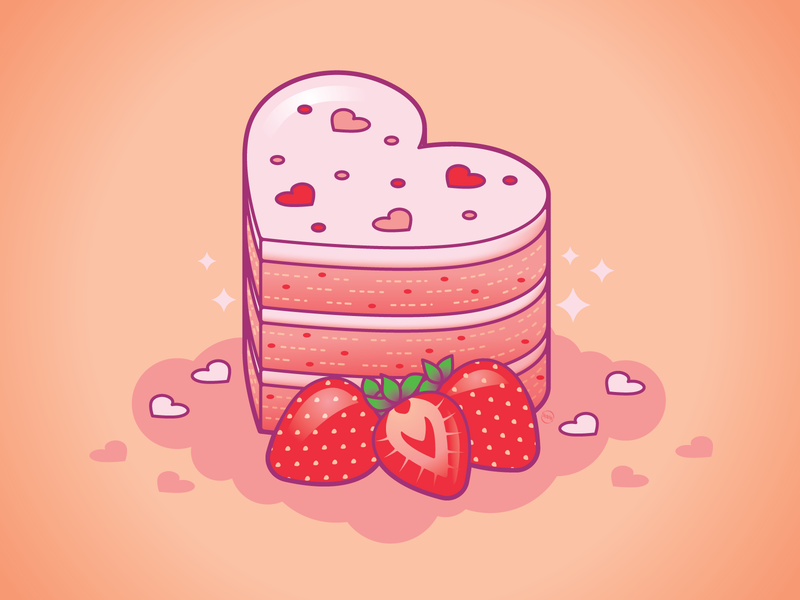 Strawberry Cake Love valentines day weekly warm up weeklywarmup love cute isometric vector food strawberry cake