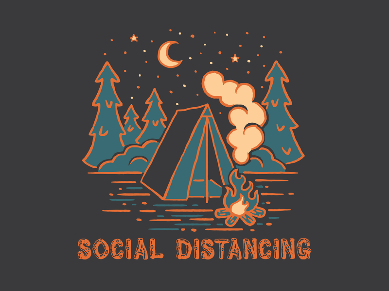 Social Distance Camping tee design outdoors tent camping design illustration