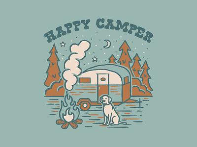 Happy Camper 1 outdoors camper camping design vector illustration