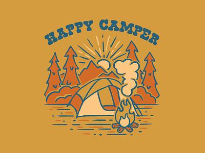Happy Camper 2 outdoors camping design vector illustration