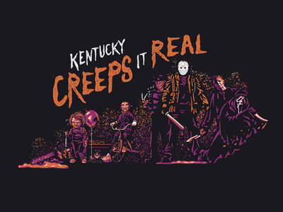 Kentucky Creeps it Real halloween spooky scary horror design kentucky illustration