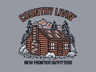 Country Livin' outdoors camping cabin vector illustration